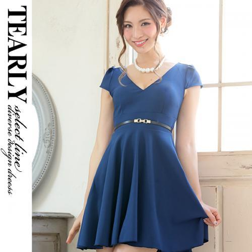 【SALE:¥4000OFF】[tearly select line]結婚式対応可・定番お呼ばれフレアミニドレス【dsl1073】