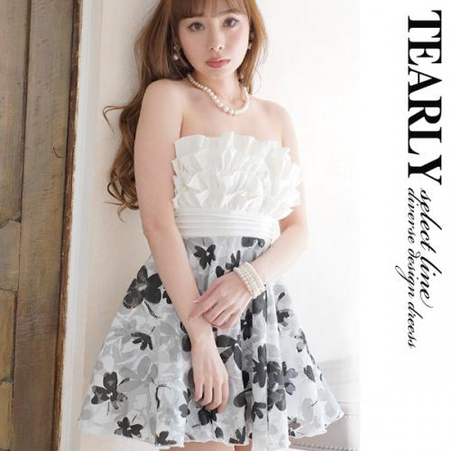 【SALE:¥3000OFF】[tearly select line]バストボリュームギャザーモノトーンローズフレアミニドレス【dsl256】