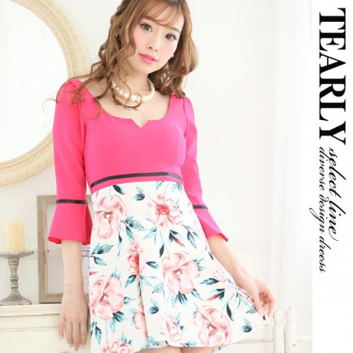 【SALE:¥2000OFF】[tearly select line]裾フレアlily柄切り替えフレアミニドレス【dsl1055】