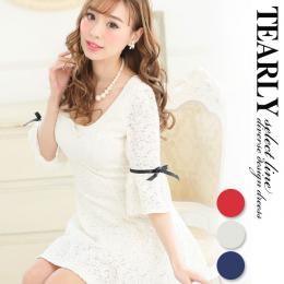 【SALE:2000円OFF】[tearly select line]総レーシーリボン袖付きフレアミニドレス【dsl975】